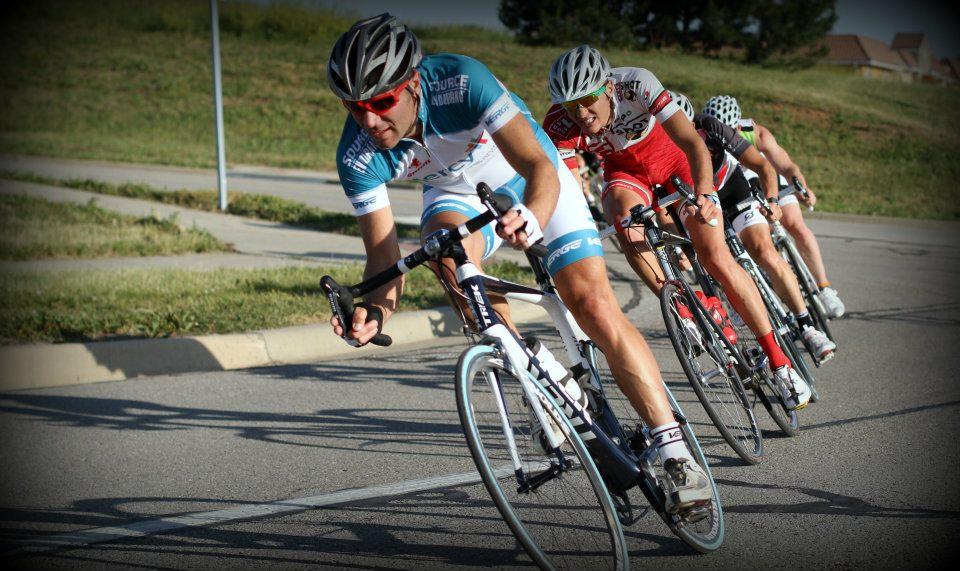 Cyclists racing a criterium